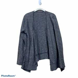Cut loose gray cardigan sweater black polkadots